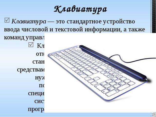 Стандартная клавиатура имеет более 100 клавиш. Для удобства пользования они о...