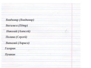 Владимир (Владимир) Василиса (Пётр) Николай (Алексей) Полина (Сергей) Виталий