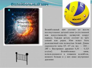 Волейбольный мяч Волейбольный мяч состоит из шести шестиугольных деталей кожи