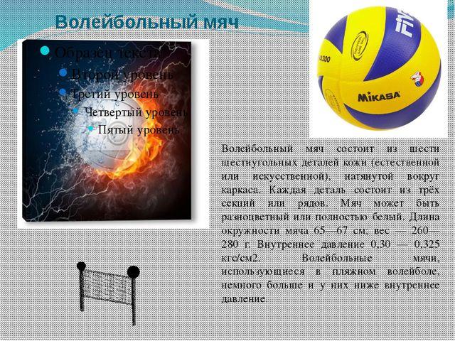 Волейбольный мяч Волейбольный мяч состоит из шести шестиугольных деталей кожи...