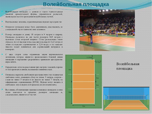 Волейбольная площадка Волейбольная площадка — ровная и строго горизонтальная...