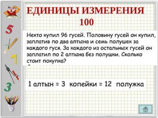 ЕДИНИЦЫ ИЗМЕРЕНИЯ 100