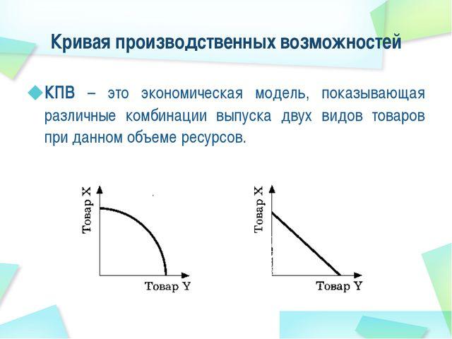 Кривая производственных возможностей КПВ – это экономическая модель, показыва...