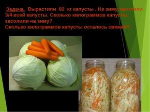 Задача. Вырастили 60 кг капусты . На зиму засолили 3/4 всей капусты. Сколько