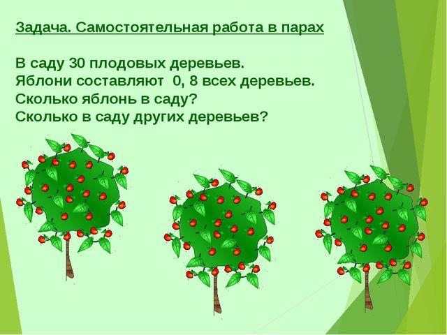 Задача. Самостоятельная работа в парах В саду 30 плодовых деревьев. Яблони со...