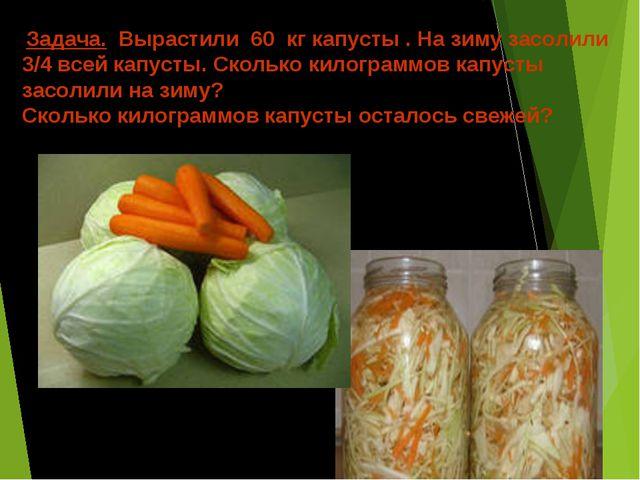 Задача. Вырастили 60 кг капусты . На зиму засолили 3/4 всей капусты. Сколько...