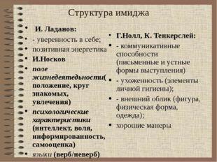 Структура имиджа И. Ладанов: - уверенность в себе; позитивная энергетика И.Но