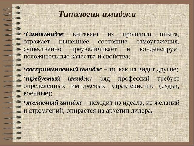 Типология имиджа Самоимидж вытекает из прошлого опыта, отражает нынешнее сост...