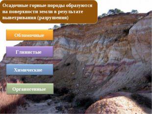 Осадочные горные породы образуются на поверхности земли в результате выветрив