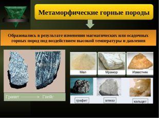 Образовались в результате изменения магматических или осадочных горных пород