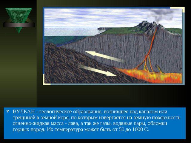 ВУЛКАН - геологическое образование, возникшее над каналом или трещиной в земн...