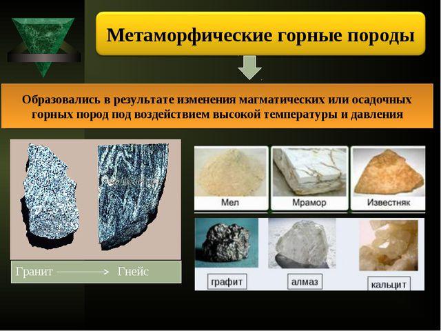 Образовались в результате изменения магматических или осадочных горных пород...