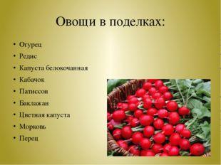 Овощи в поделках: Огурец Редис Капуста белокочанная Кабачок Патиссон Баклажан