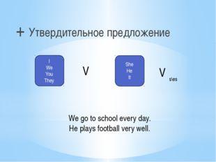 + Утвердительное предложение I We You They V She He It V s\es We go to school