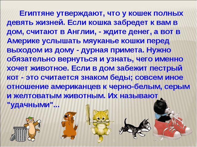Египтяне утверждают, что у кошек полных девять жизней. Если кошка забредет к...