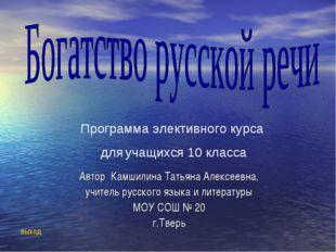 Автор Камшилина Татьяна Алексеевна, учитель русского языка и литературы МОУ С
