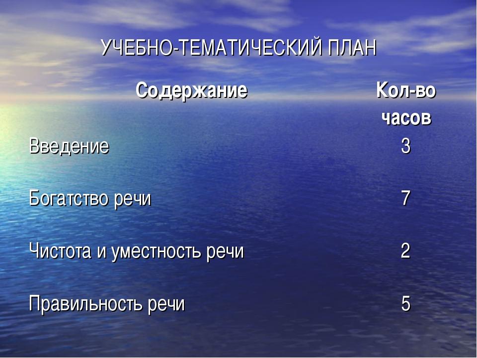 УЧЕБНО-ТЕМАТИЧЕСКИЙ ПЛАН СодержаниеКол-во часов Введение3 Богатство речи7...