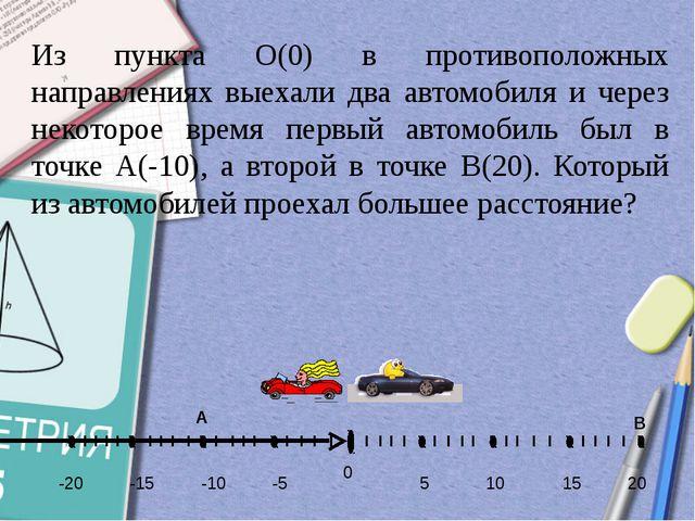 -5 -10 -15 5 10 15 20 -20 0 Из пункта О(0) в противоположных направлениях вы...