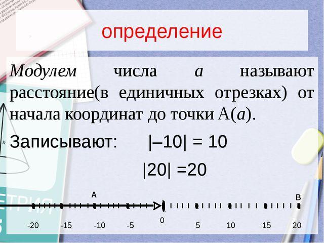 определение Модулем числа a называют расстояние(в единичных отрезках) от нача...