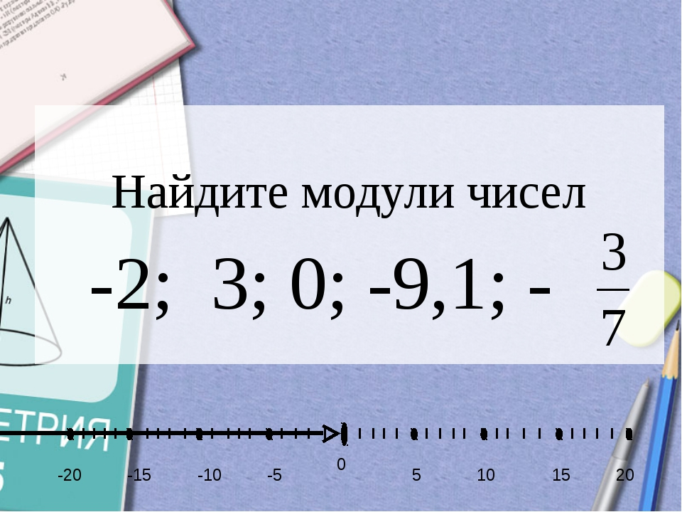 Найдите модули чисел -2; 3; 0; -9,1; - -5 -10 -15 5 10 15 20 -20 0