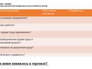 1. Заполнение таблицы. Отличия капиталистической мануфактуры от ремесленной