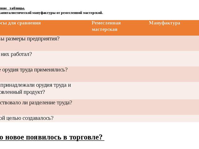 1. Заполнение таблицы. Отличия капиталистической мануфактуры от ремесленной...