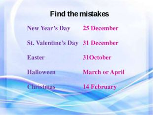 Find the mistakes New Year's Day 25 December St. Valentine's Day 31 December