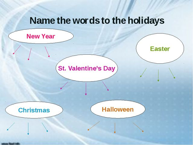 Name the words to the holidays New Year Christmas Easter St. Valentine's Day...