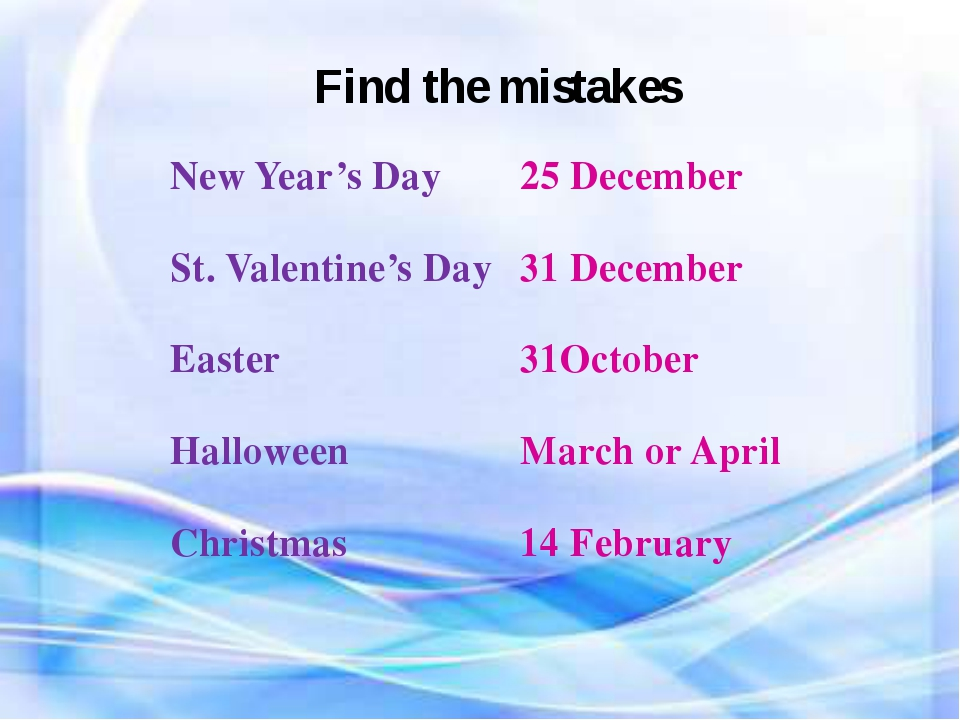 Find the mistakes New Year's Day 25 December St. Valentine's Day 31 December...