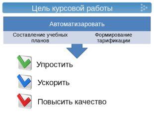 Цель курсовой работы Автоматизаровать Составление учебных планов Формирование