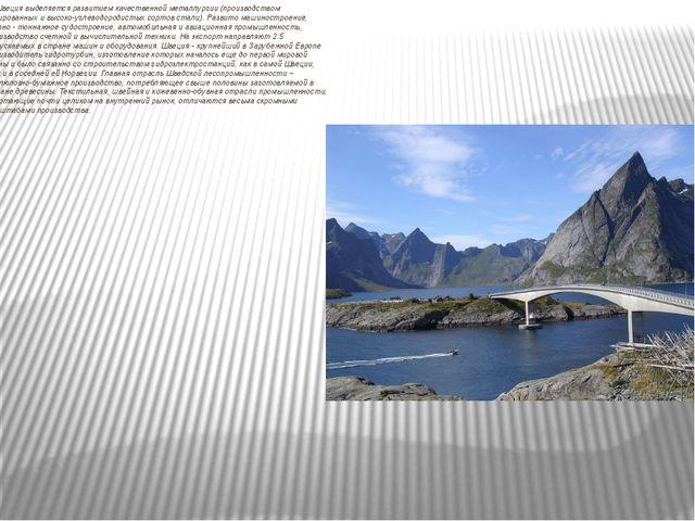 Швеция выделяется развитием качественной металлургии (производством легирова...