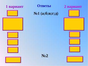 Ответы 1 вариант 2 вариант №1 (а;б;в;г;д) 2,4 16 42 18 30 6,6 10 20 №2 9 0,1