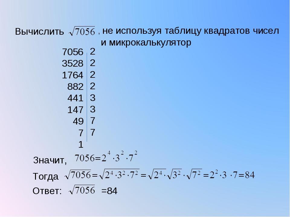 7056 3528 1764 882 441 147 49 7 1 2 2 2 2 3 3 7 7 Вычислить , не используя та...