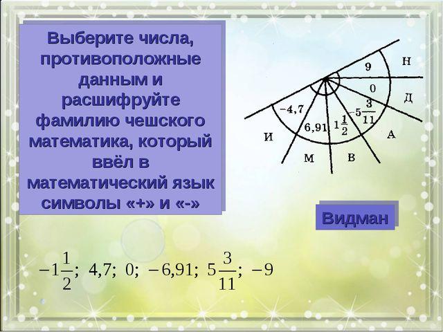 Видман Выберите числа, противоположные данным и расшифруйте фамилию чешского...