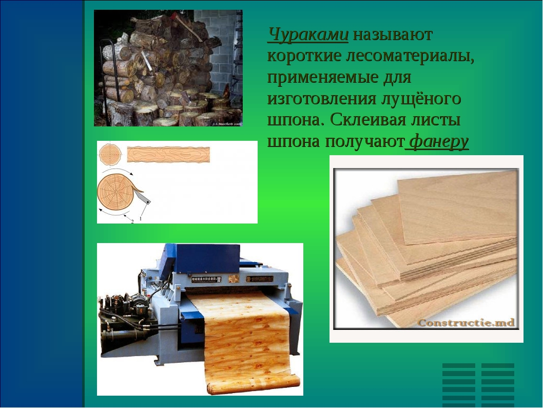 Чураками называют короткие лесоматериалы, применяемые для изготовления лущёно...