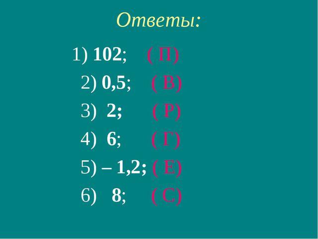 Ответы: 1) 102; ( П) 2) 0,5; ( В) 3) 2; ( Р) 4) 6; ( Г) 5) – 1,2; ( Е) 6) 8;...