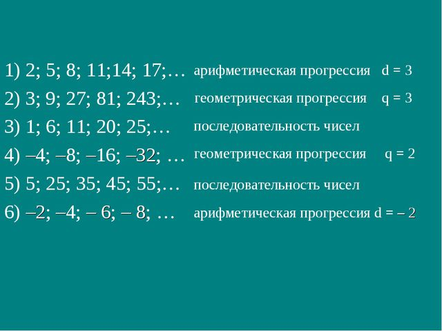 1) 2; 5; 8; 11;14; 17;… 2) 3; 9; 27; 81; 243;… 3) 1; 6; 11; 20; 25;… 4) –4; –...