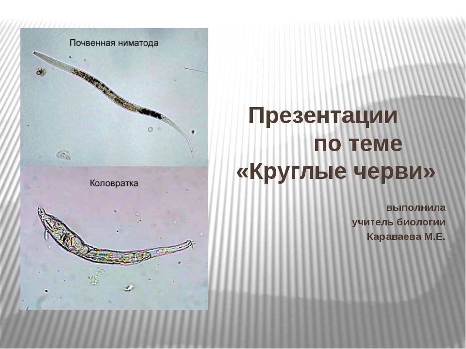 Презентации по теме «Круглые черви» выполнила учитель биологии Караваева М.Е.