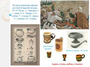 Распространенные формы русской токарной посуды. XV-XVIII вв.: 1 - братина; 2