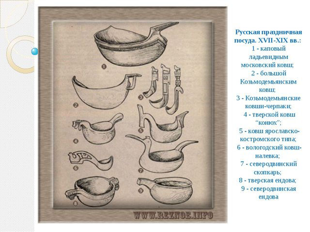 Русская праздничная посуда. XVII-XIX вв.: 1 - каповый ладьевидным московский...