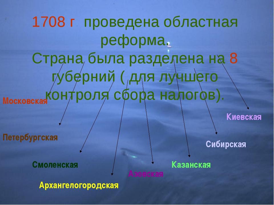 1708 г. проведена областная реформа. Страна была разделена на 8 губерний ( дл...