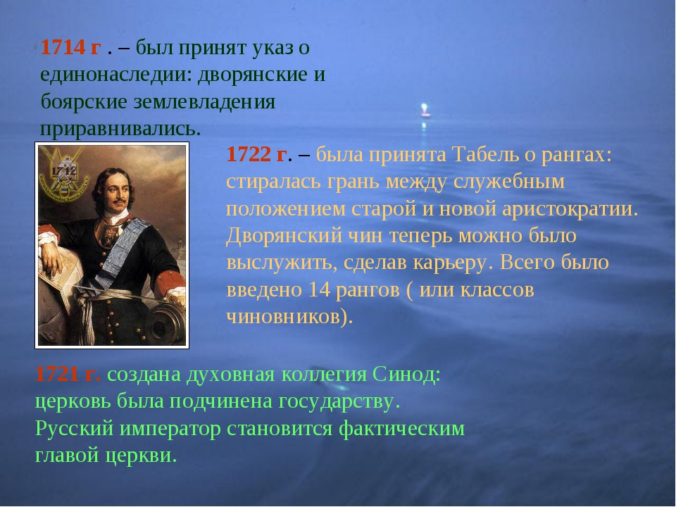 1714 г . – был принят указ о единонаследии: дворянские и боярские землевладен...