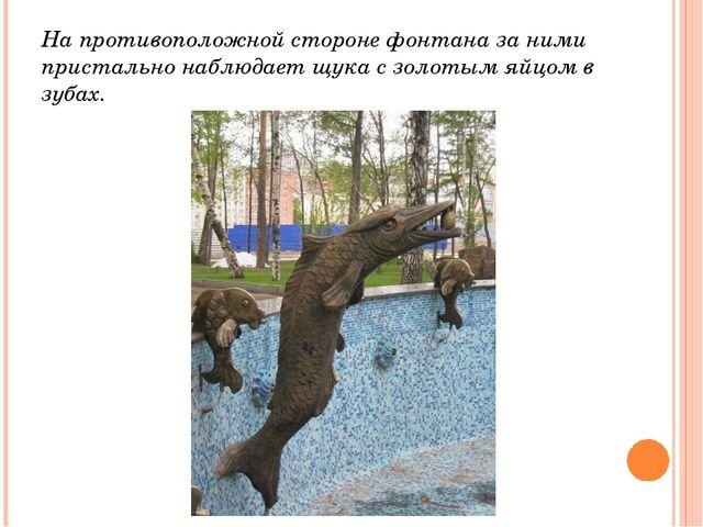 На противоположной стороне фонтана за ними пристально наблюдает щука с золоты...