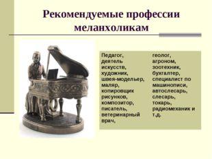 Рекомендуемые профессии меланхоликам Педагог, деятель искусств, художник, шве