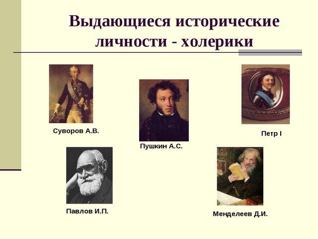 Выдающиеся исторические личности - холерики Суворов А.В. Пушкин А.С. Петр I П...