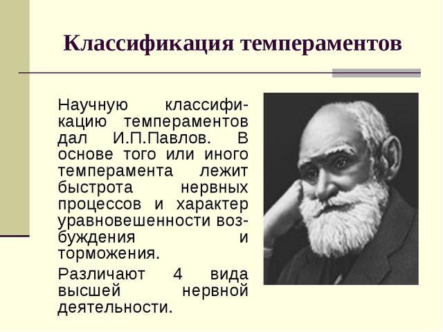 Классификация темпераментов Научную классифи-кацию темпераментов дал И.П.Пав...