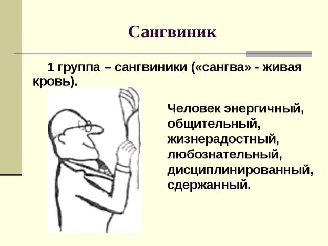 Сангвиник Человек энергичный, общительный, жизнерадостный, любознательный, ди...