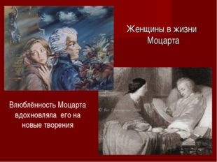 Женщины в жизни Моцарта Влюблённость Моцарта вдохновляла его на новые творения