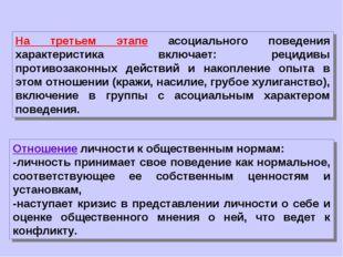 На третьем этапе асоциального поведения характеристика включает: рецидивы про