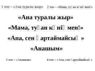 3 топ – «Анашым» 1 топ – «Ана туралы жыр» 2 топ – «Мама, туған күніңмен!» 4 т